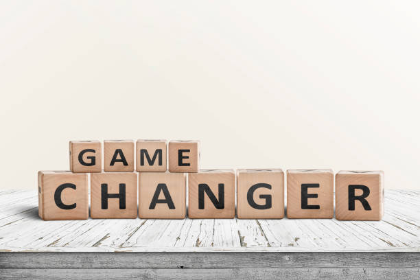 Game changer sign made of wooden blocks stock photo