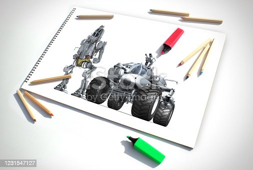 Futuristic military vehicles design drawn in a white picture book. An example of the work of studios producing for the movie and computer game industry.