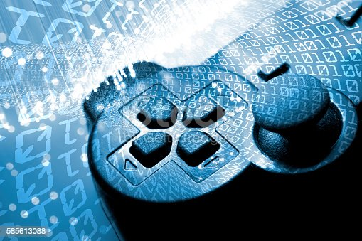 istock Game controller toned blue 585613088