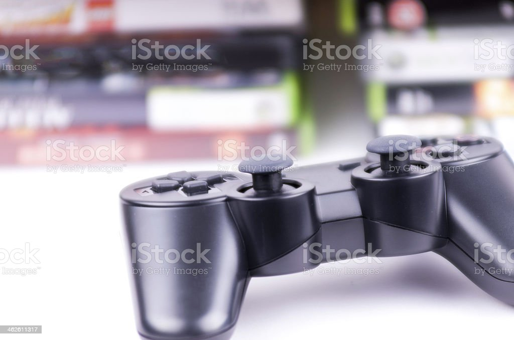 Game controller with games closeup stock photo