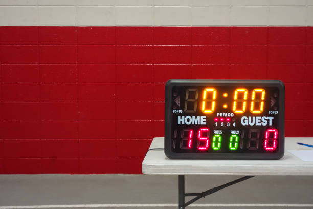 game day indoor tabletop electronic scoreboard for high school wrestling, basketball or volleyball - scoring stock photos and pictures