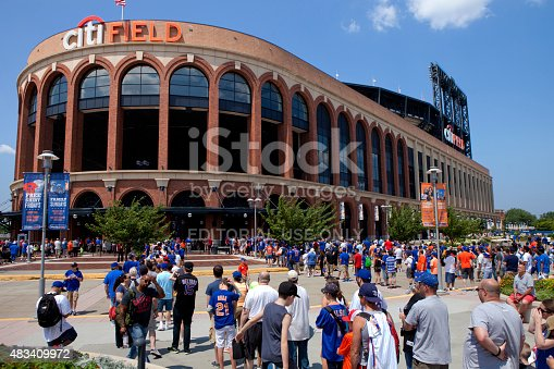 Queens, New York, USA  - July 11, 2015: Met fans in line to head in to Citi Field also known as Mets Baseball Stadium in  Flushing Meadows–Corona Park in Queens (New York City). This stadium Replaced Shea Stadium in  2009 and is the home baseball park of Major League Baseball's New York Mets.