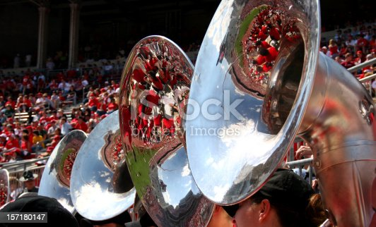 Excitement of game day reflected in tubas