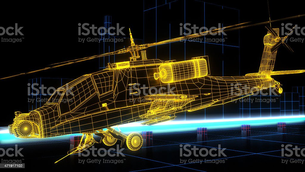 Game Design futuristic helicopter stock photo
