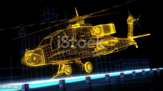 istock Game design wireframe helicopter 471917082