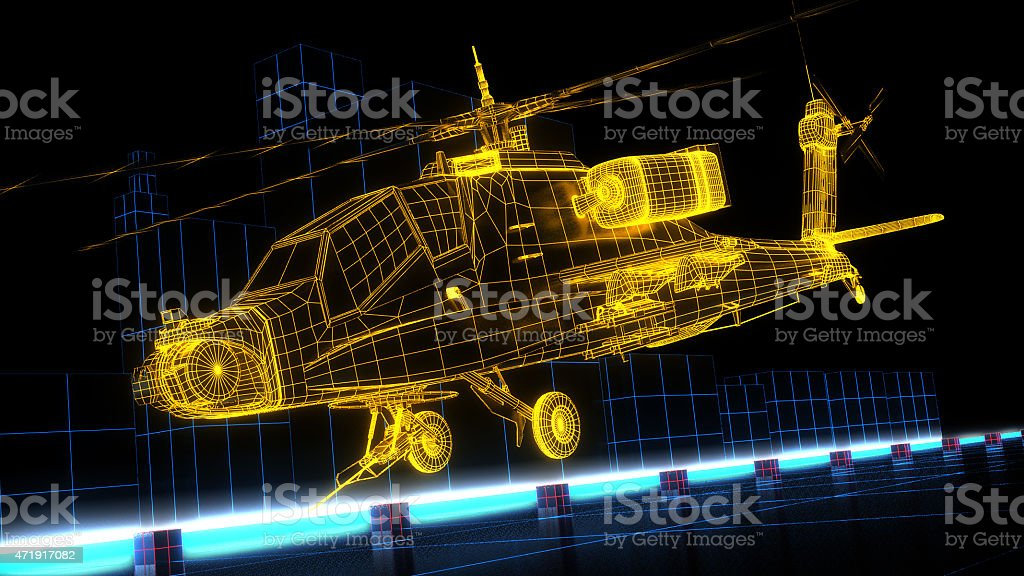 Game design wireframe helicopter stock photo