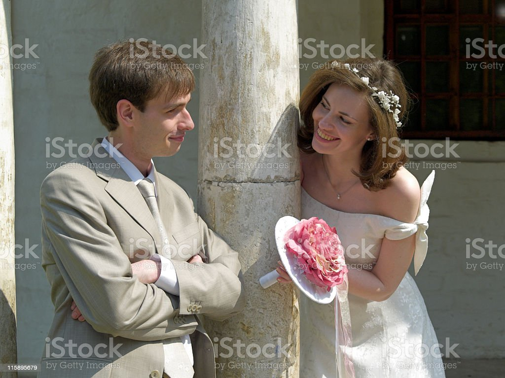 Game of bride and groom stock photo