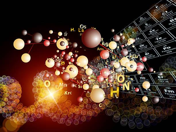 game of chemical elements - meerdere lagen effect stockfoto's en -beelden