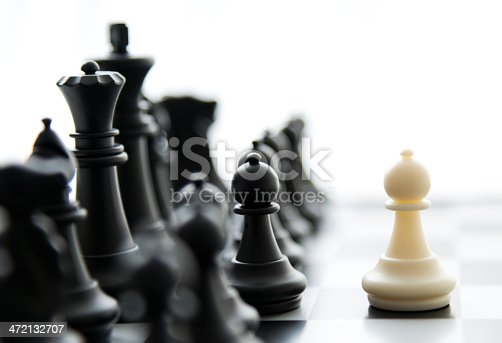 Chess board and pieces in a chess game. business concept