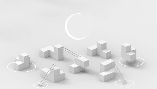 game of the tetris und treppenbusiness concept auf isolierter basis auf gray-hintergrund-3d rendering - spielplatz design stock-fotos und bilder