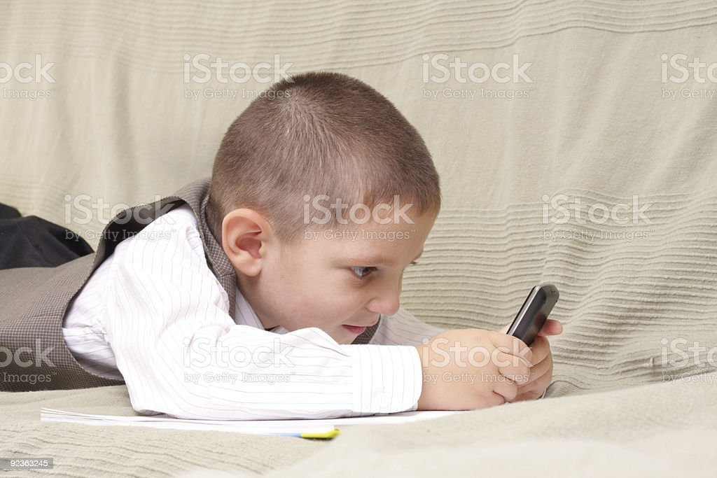 Game on phone royalty-free stock photo