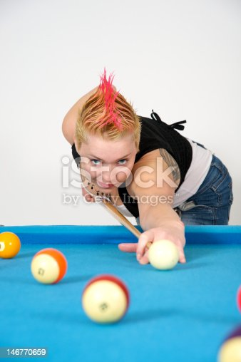 Sexy girl playing pool/billiards. See more images like this one in my portfolio