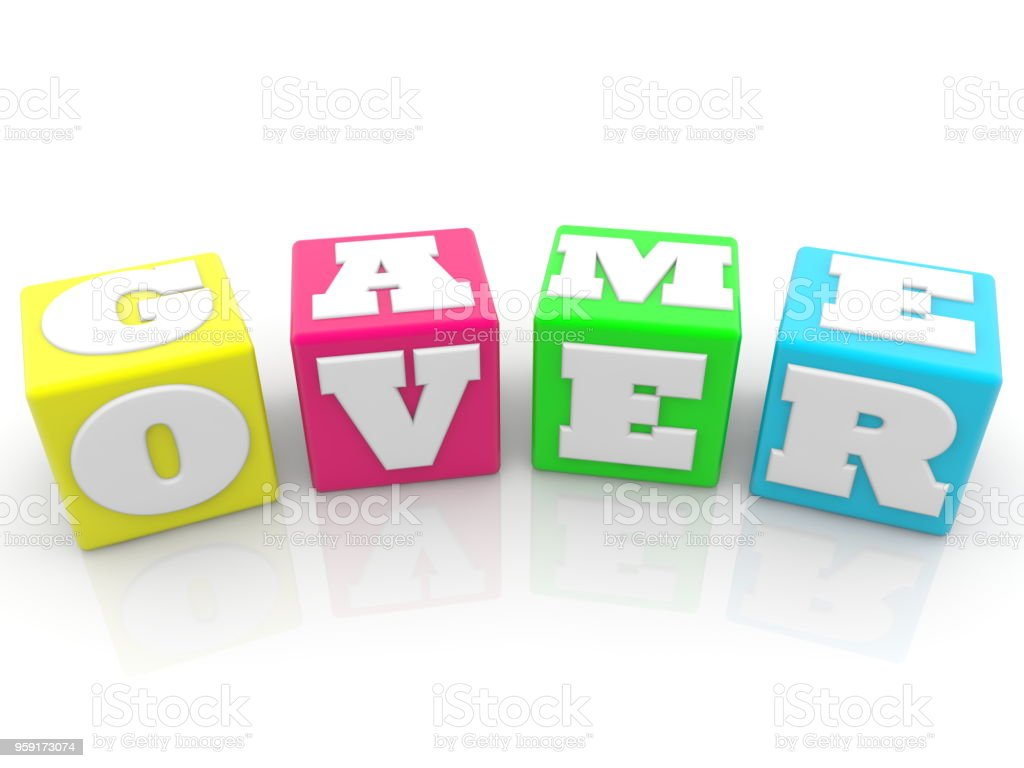 Game over concept on colorful cubes stock photo