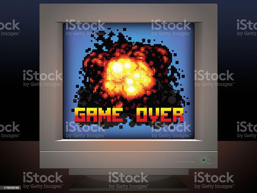 Odpuść wybuch Ilustracja w stylu retro gry wideo – zdjęcie