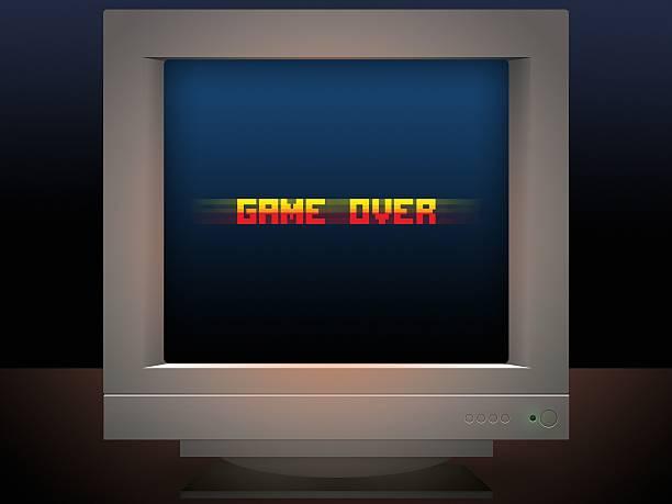Gra na piksel sztuka styl retro monitorować wiadomość – zdjęcie
