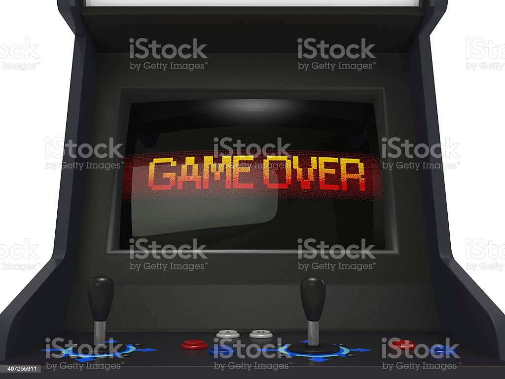 Game over screen on a black arcade game with two controllers stock photo