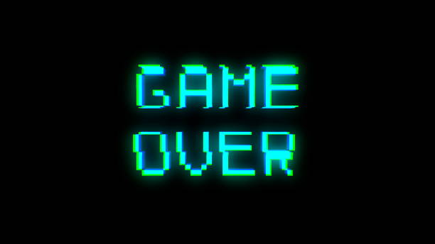 Game over text with bad signal. Glitch effect - foto stock