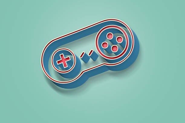 3d game pad with retro effect - mobile game stock photos and pictures