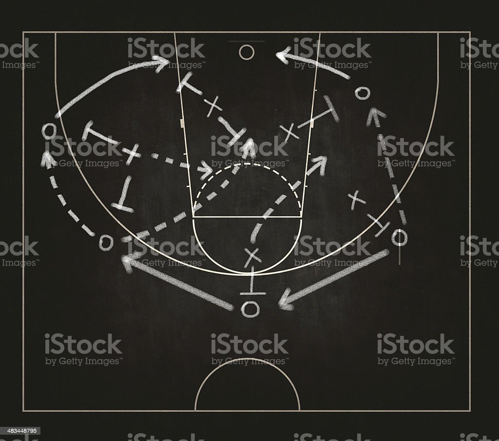 Game strategy drawn on blackboard stock photo
