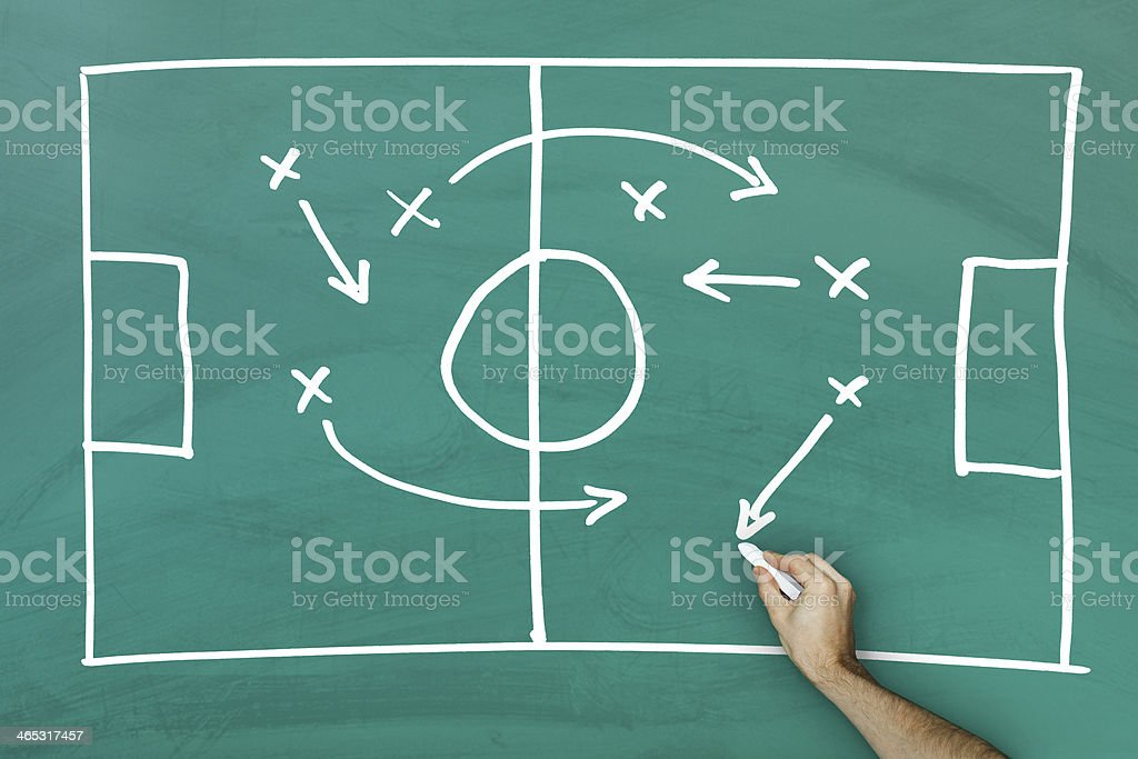 Game strategy on blackboard stock photo