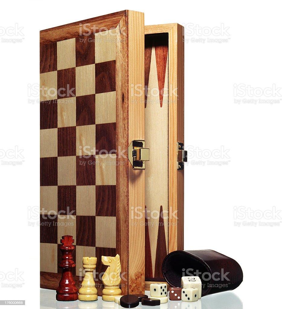 Jeu, planche à repasser, d'un jeu d'échecs, de backgammon, dés dices - Photo