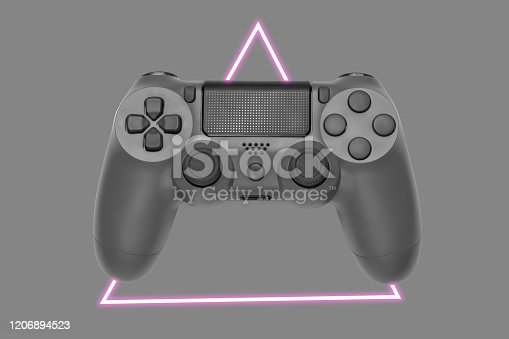 istock Gamepad. 80's synth wave and retrowave glowing triangle futuristic aesthetics. Old fashioned abstraction concept 1206894523
