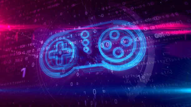 gamepad controller hologram concept - telecomando background foto e immagini stock