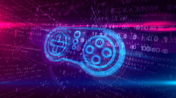 Gamepad controller hologram concept Retro gamepad controller hologram on digital background. 5G, gaming, play, pad and online game abstract concept 3D illustration. leisure games stock pictures, royalty-free photos & images