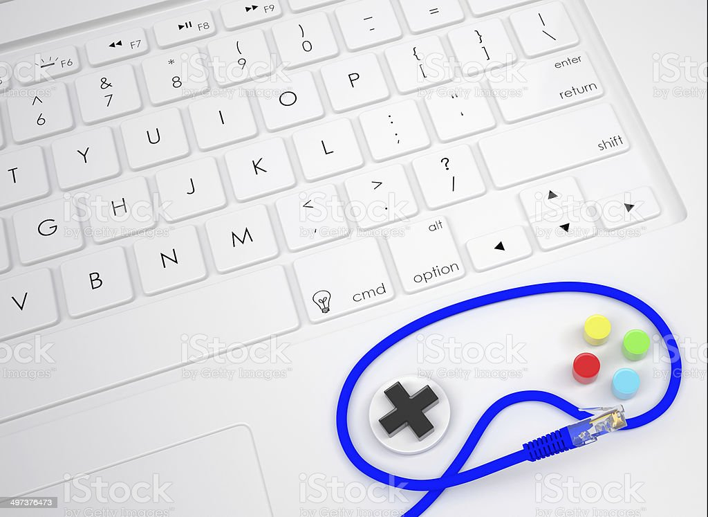 Gamepad on the keyboard royalty-free stock photo