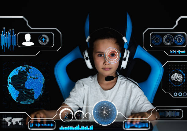 gamer boy with virtual hud - esports stock photos and pictures