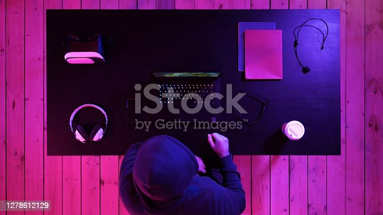 Top view.Gamer making a break and talking to camera. Professional shot in 4K resolution. 020. You can use it e.g. in your commercial video, medical, business, presentation, broadcast
