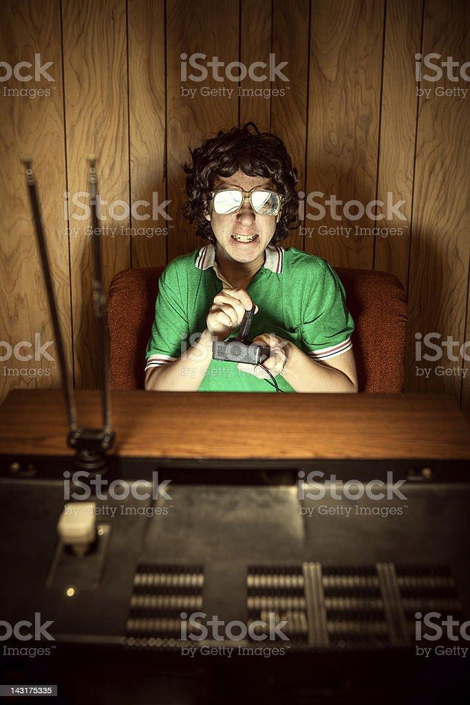 Gamer Nerd Playing Video Games on T.V. stock photo