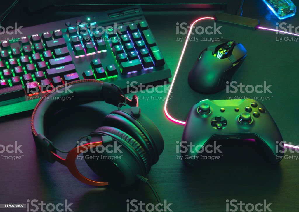 gamer work space concept, top view a gaming gear, mouse, keyboard,...