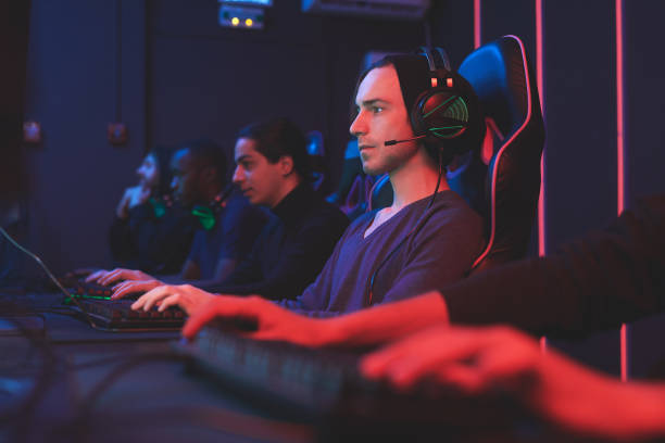 Gamers in computer club stock photo