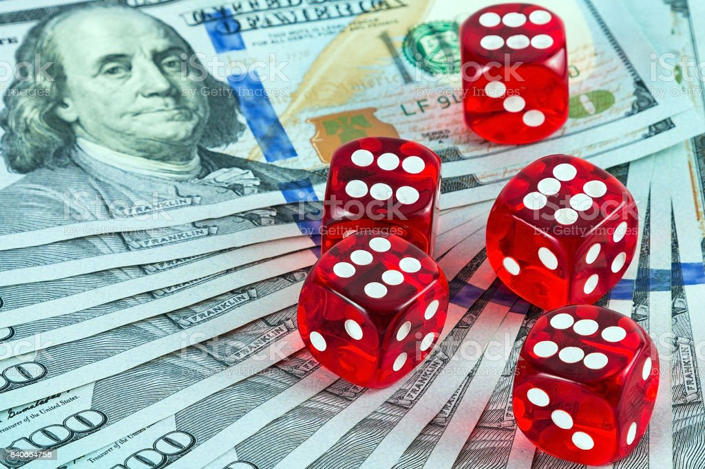 games Casino dices US Currency stock photo