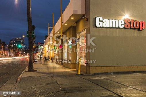 LOS ANGELES, CA - Jan 28: GameStop located in Sunset Boulevard, Los Angeles on January 28, 2021.