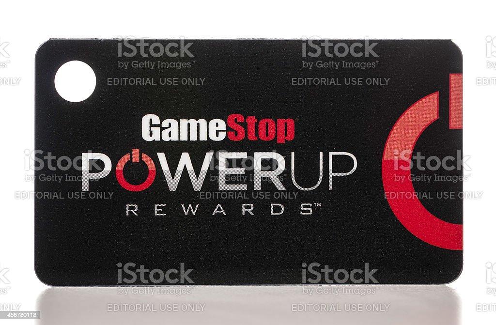 GameStop PowerUp Rewards plastic card stock photo