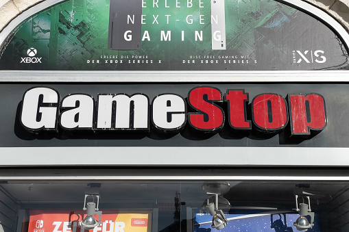 Gamestop store sign in Munich, Germany