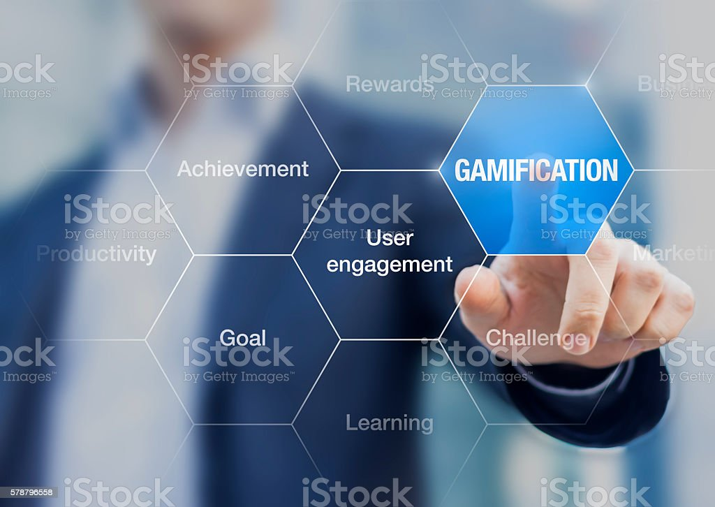 Gamification improves user engagement and motivation in business stock photo