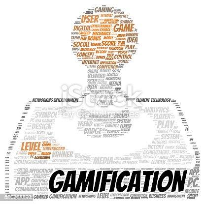 istock Gamification word cloud shape 520788893