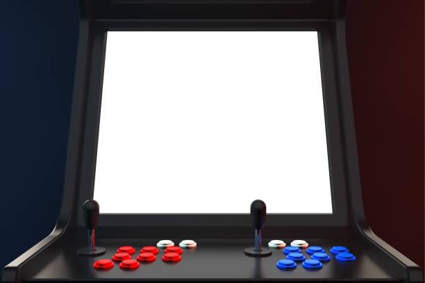 gaming-arcade-maschine mit leeren bildschirm für ihr design. 3d rendering - arkade stock-fotos und bilder