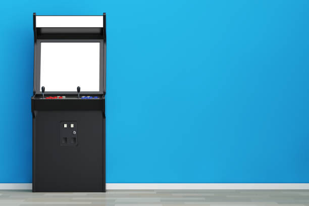 Gaming Arcade Machine with Blank Screen for Your Design. 3d Rendering stock photo