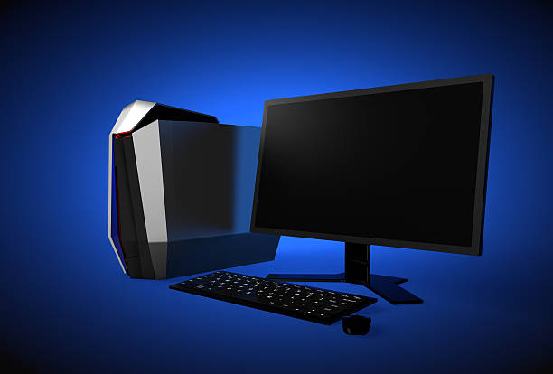Gaming computer isolated on blue background - foto de stock