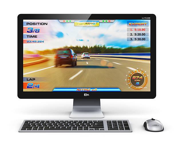 gaming-desktop-computer - maus video stock-fotos und bilder