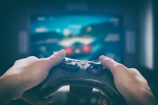 istock Gaming game play video on tv or monitor. Gamer concept. 655144644