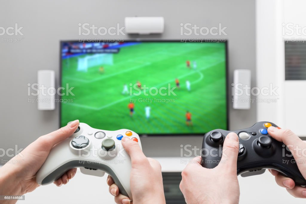 Gaming Game Play Video On Tv Or Monitor Gamer Concept Stock