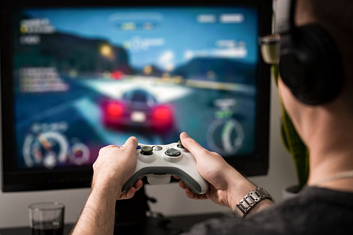 istock Gaming game play video on tv or monitor. Gamer concept. 655144716