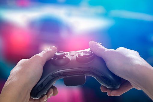 istock Gaming game play video on tv or monitor. Gamer concept. 881849172