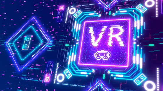 Vr Gaming Symbol Logotype Glow Neon Cyber Style Background Virtual Reality Stock Photo Download Image Now Istock