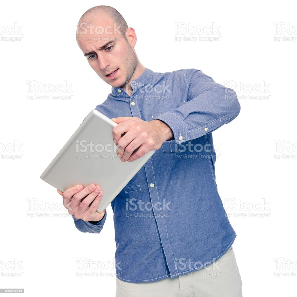 Gaming with digital tablet stock photo